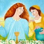 Marie et la servante dans les noces de Cana
